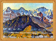 Eiger, Mönch und Jungfrau in der Morgensonne Schweiz Alpen LW Hodler A2 05