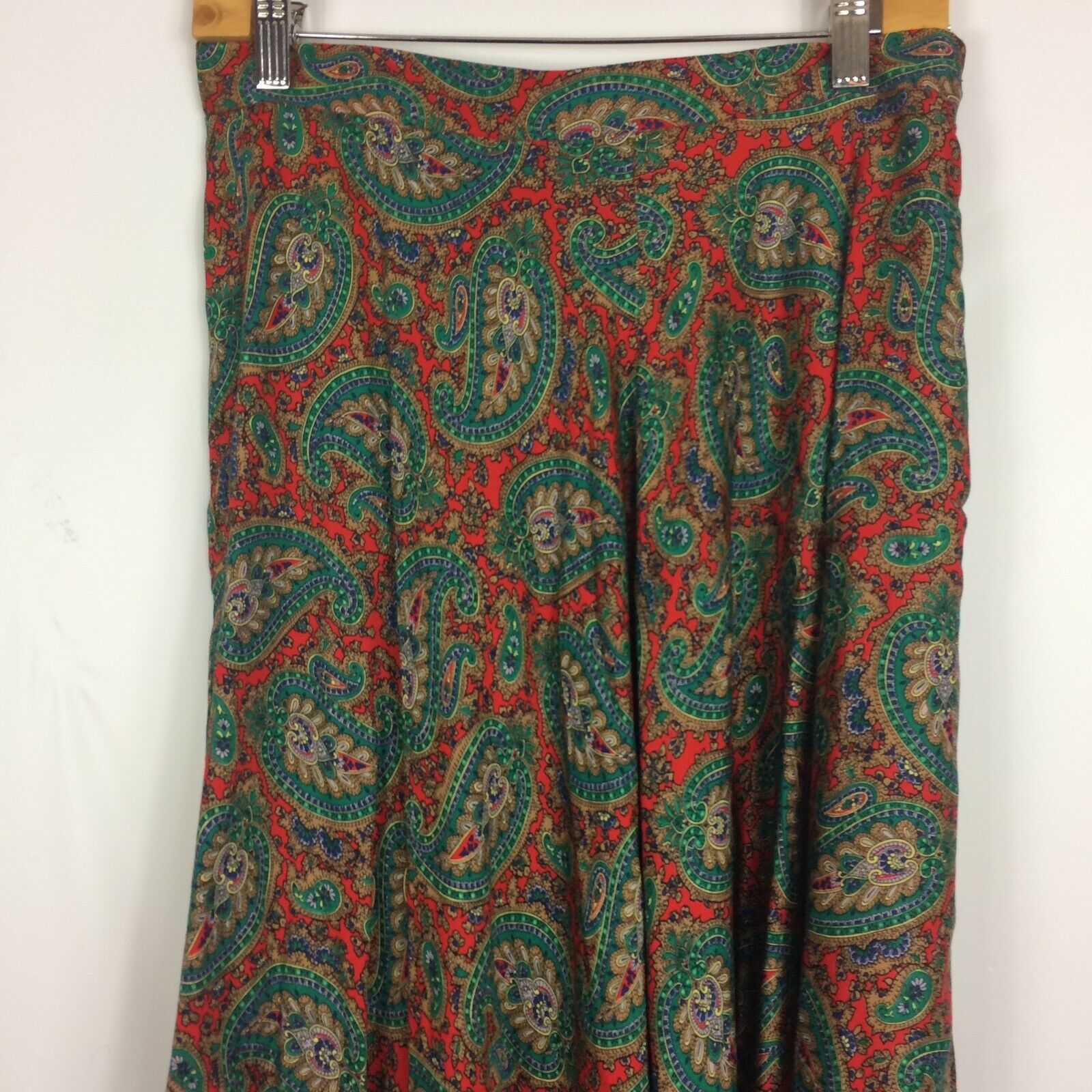 Ralph Lauren Maxi Skirt Red Green Paisley Print R… - image 8
