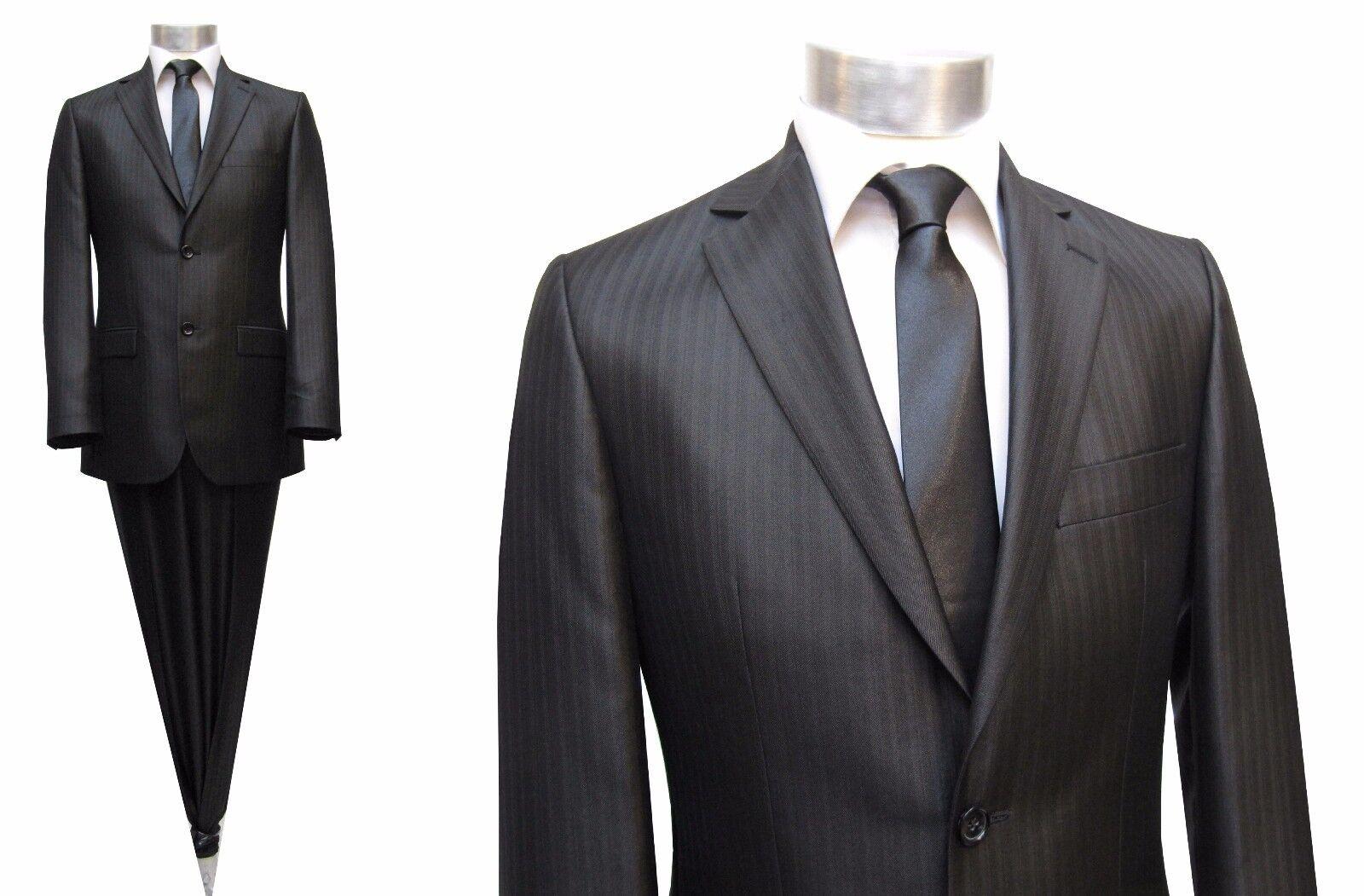 Herren Anzug schatten streifen Gr.46 schwarzbraun