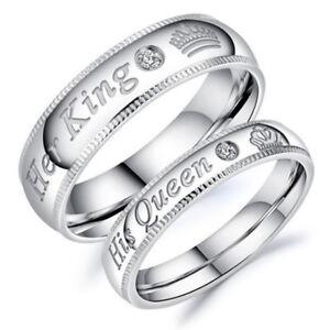 Eg-Lui-Regina-e-Lei-Re-Acciaio-Inox-Coppia-per-Amante-Fidanzamento-Anelli-Jew