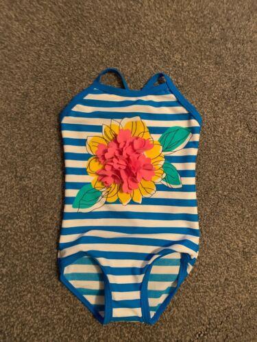 M/&S Girl Blue White  Pretty Design Swimming  Costume Age 2 3 Years BNWT