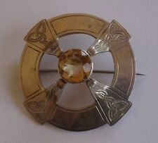 VINTAGE SCOTTISH PROVINCIAL SILVER PLAID STYLE BROOCH, ABERDEEN c1950