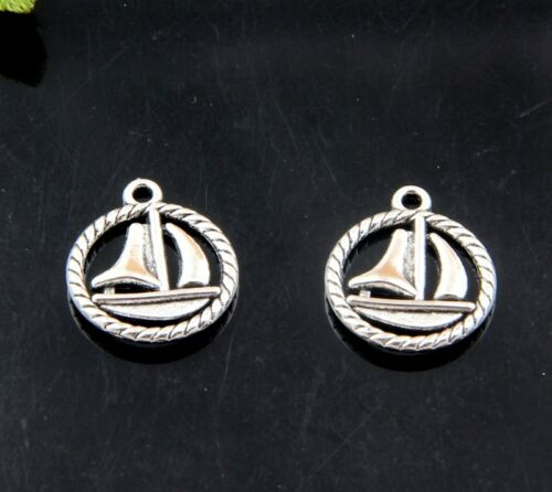 Free Shipping 32//66pcs Tibet Silver Sailboat Necklace Pendant 18x15mm