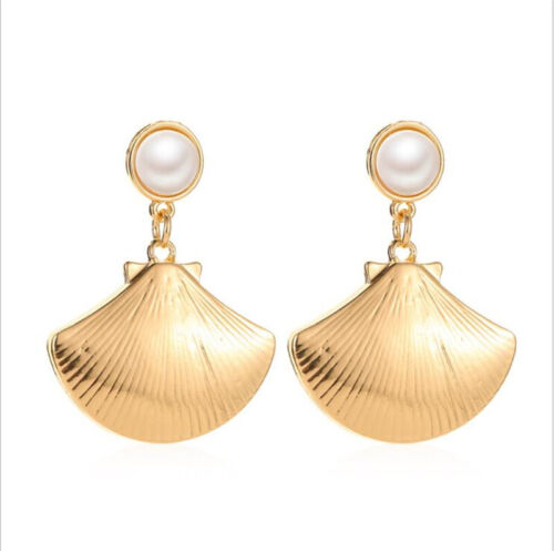 2019 NEW Women Natural Pearl Shell Conch Statement Dangle Drop Earrings Jewelry