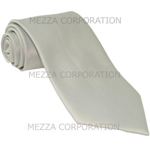 New Vesuvio Napoli Men/'s extra long necktie solid color 100/% polyester Silver
