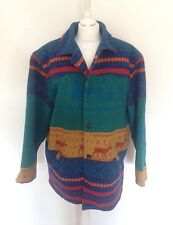 VTG RETRO AZTEC HIPPY URBAN TRIBAL NAVAJO OVERSIZED FESTIVAL JACKET COAT VGC L