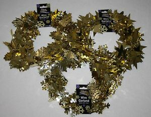 LUCKY-DIP-wired-garland-GOLD-holly-snowflake-star-christmas-tree-card-hanging