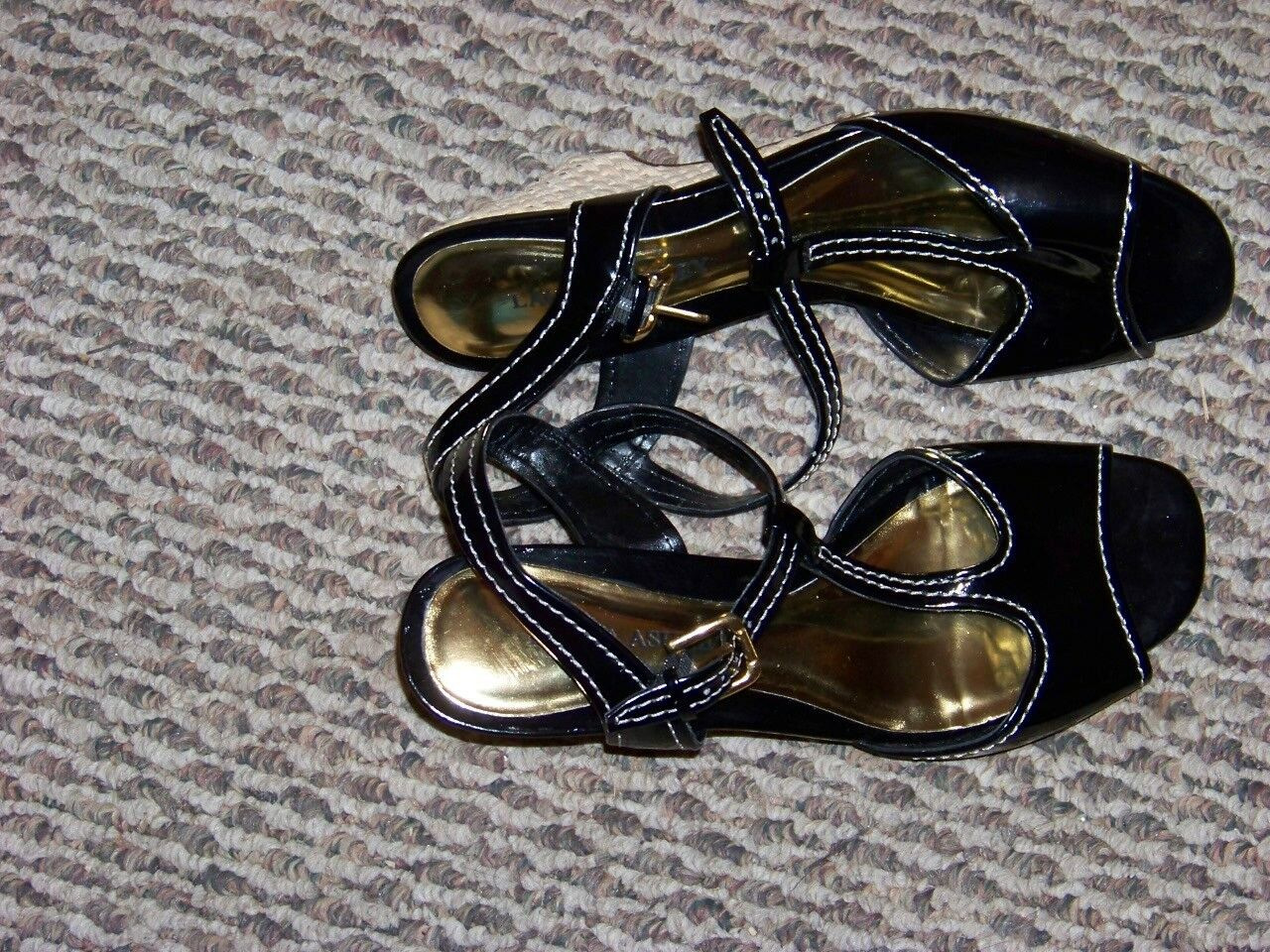 womnes patent laura ashley journey black patent womnes open toe t strap wedge shoes size 8 1/2 cf4be2