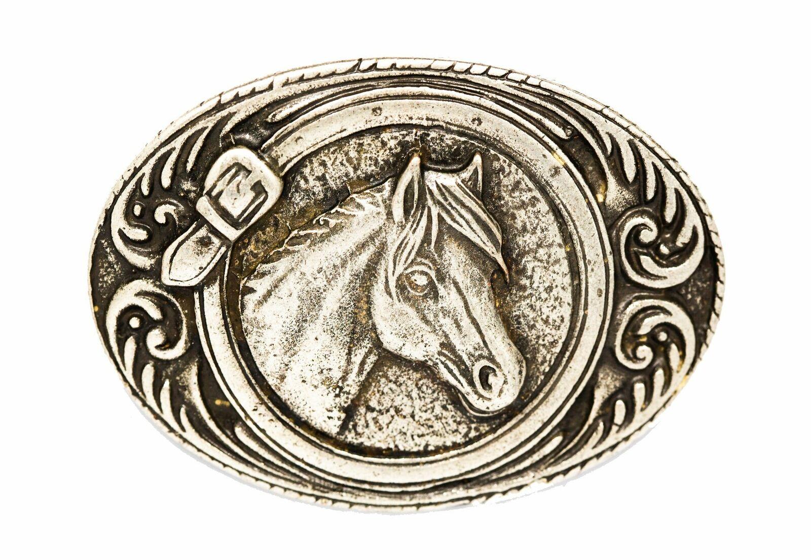 Gürtelschließe Gürtelschnalle Schnalle Buckle Pferd grau/silber für 4 cm breiten
