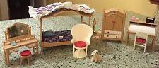 Tomy Vintage Smaller Homes Dollhouse Furniture for Bedroom & Roll Top Desk