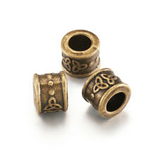 20pcs Tibetan Alloy Metal European Beads Column Large Hole Antique Bronze 10x8mm