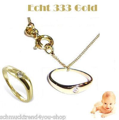 Juwelier Taufring für Mädchen oder Jungen Echt Gold 333 /& Kette Silber vergoldet