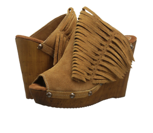 NIB Sbicca Pitch Tan FRINGE SUEDE Leather Platform Shoes Heels Sandal Womens 9 M