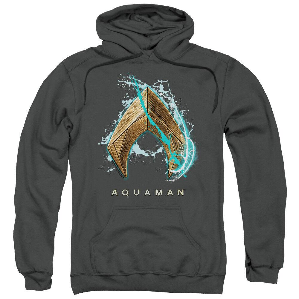 Aquaman Movie Hoodie Water Shield Logo Charcoal Hoody