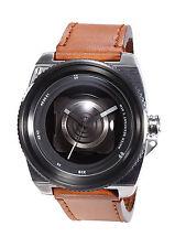 TACS TS1405B Vintage Camera Lens Orange Brown Leather Strap Wrist Watch  moo