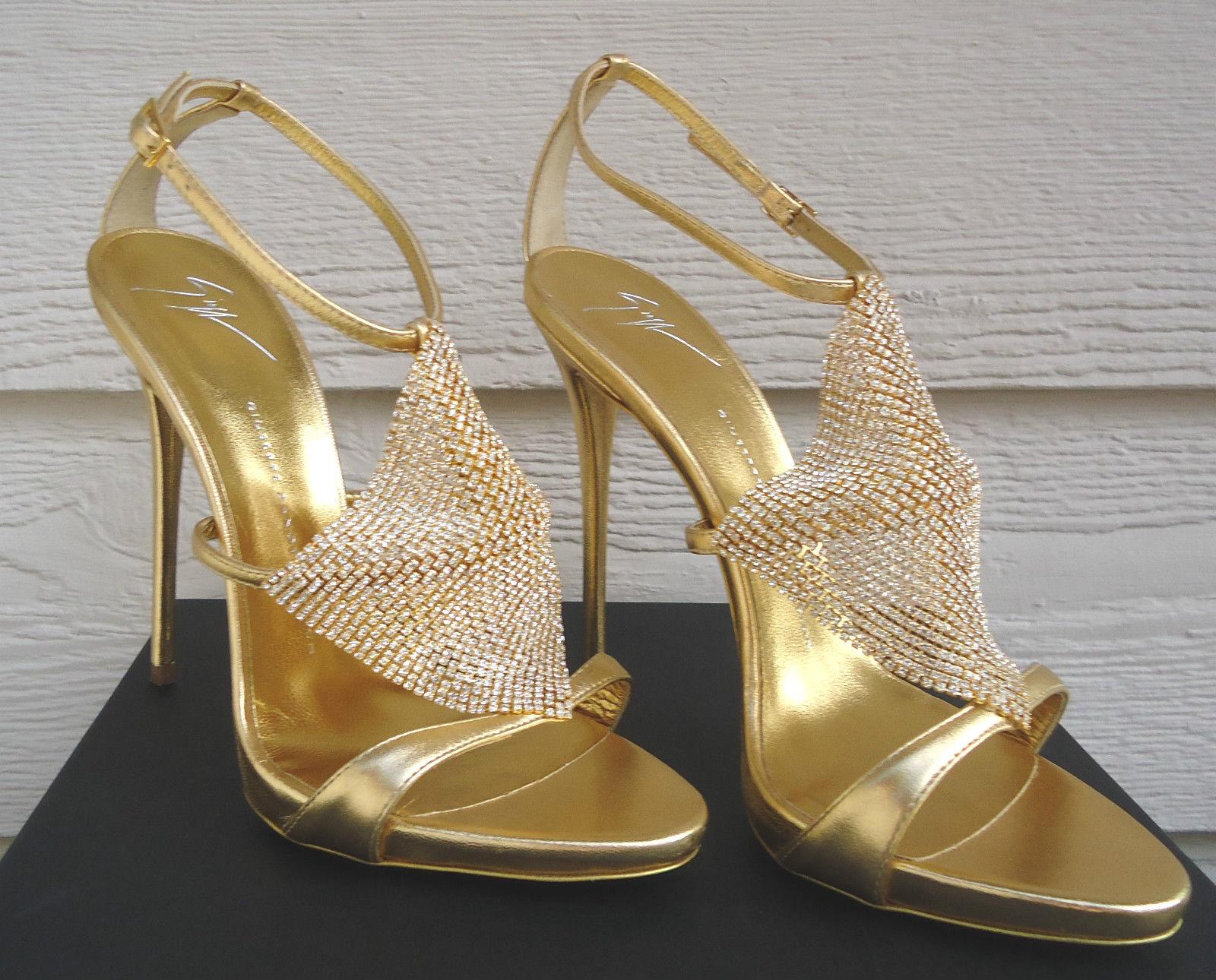 Neu Giuseppe Zanotti 40 Coline Metallisch Gold-Kristall Mekong