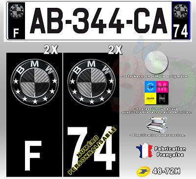 "Stickers Plaque D'immatriculation Fond Noir Logo ""BMW 5"" 4 pièces 45x100 mm"