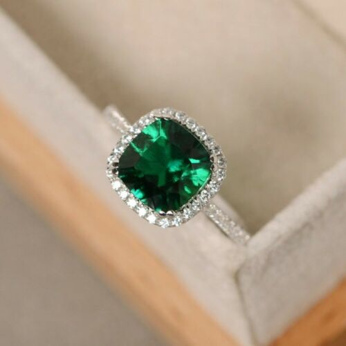 925 Sterling Silver Natural Certified 5 Ct Emerald Octagon Shape Engagement Ring