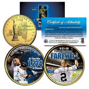 DEREK JETER Yankee Stadium Farewell NY State Quarters 2-Coin Set 24K Gold Plated