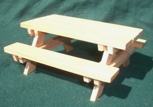 Handmade Dollhouse Miniature Cedar Wood Picnic Table With Benches - Picnic table finish