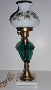 Vintage-Emerald-Glass-Brass-marble-Student-Desk-Lamp-with-Hand-Painted-Shade
