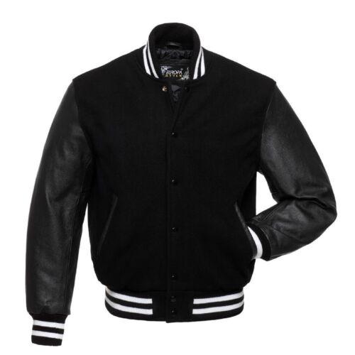 Laine Noire Black Pure//cuir véritable manches Letterman Varsity Veste Aviateur