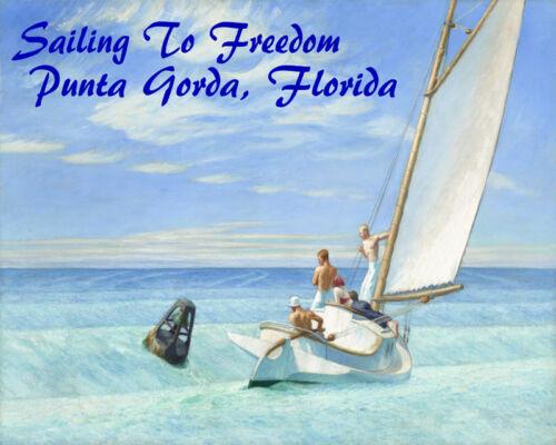POSTER SAILING TO FREEDOM PUNTA GORDA FLORIDA SAIL BOAT VINTAGE REPRO FREE S//H