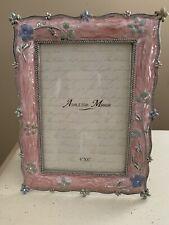 "NICOLE/'S Lt Pink /& White Jeweled 4x6/"" Picture Photo Frame NWT Vintage Botanical"
