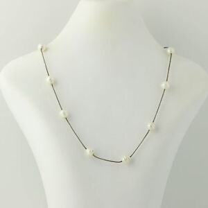 Freshwater-Pearl-Necklace-18-1-4-034-Sterling-Silver-Snake-Chain-June-Gift
