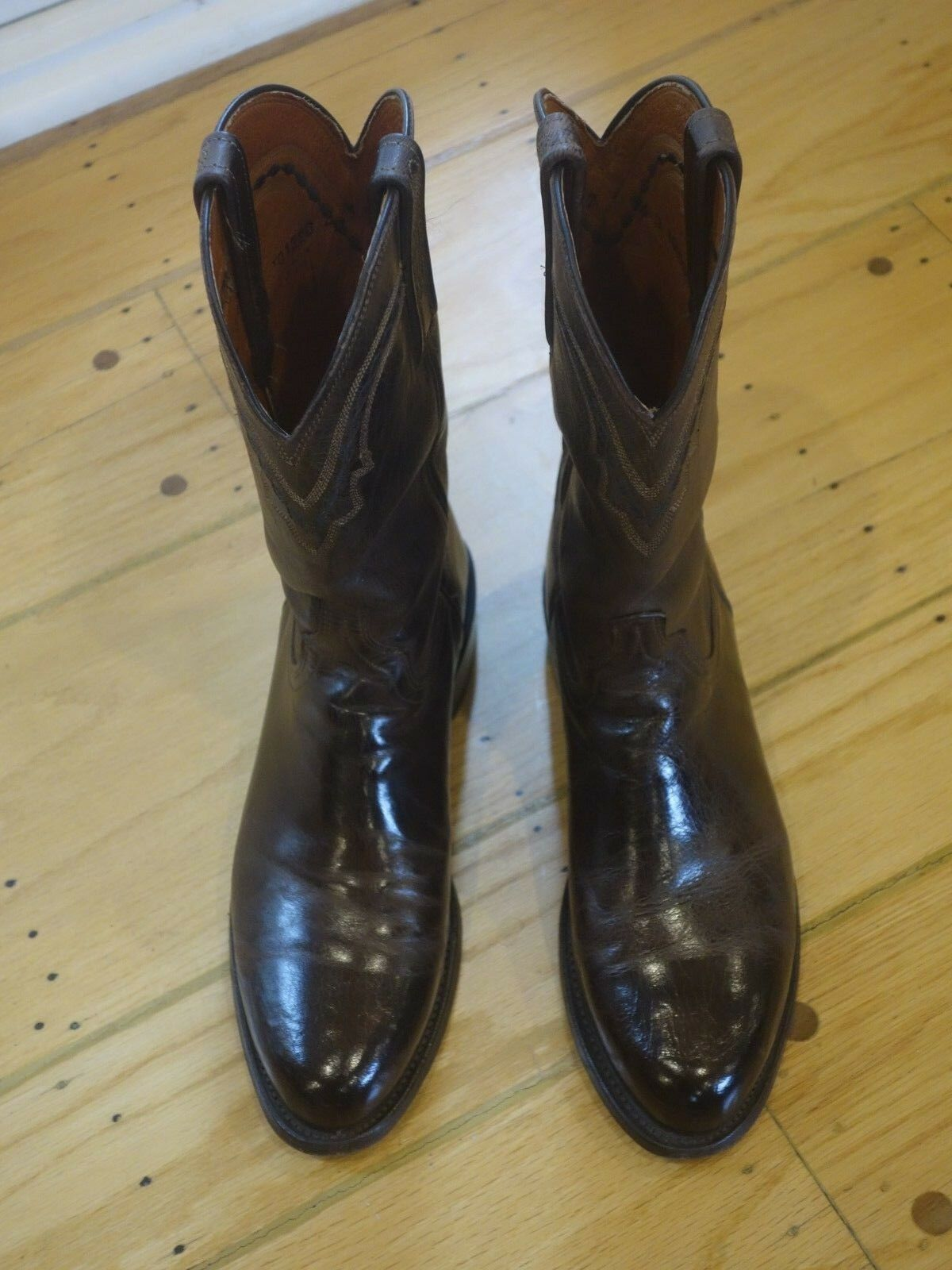 Used Mens Lucchese Chocolate MAD DOG Goat Leather Dimensione 7.5D stivali