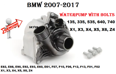 BMW E60 E61 E71 E82 E88 E90 F01 F02 F10 335i 535i WATER PUMP W//BOLTS KIT GENUINE