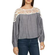 1.State Womens Long Sleeve Lace Striped Blouse Top BHFO 6329