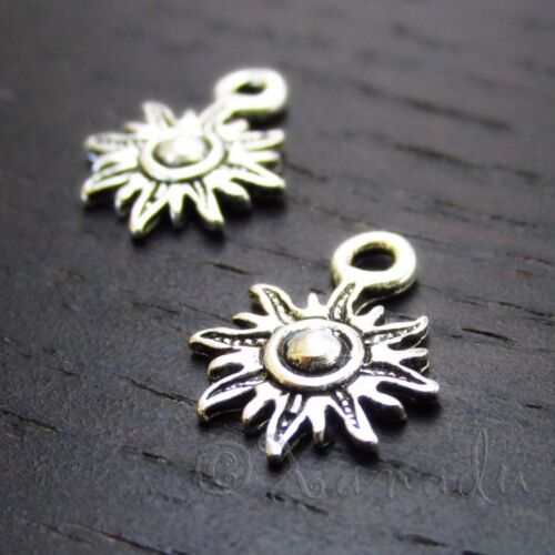 Sun Charms 13mm Antiqued Silver Plated Small Pendants C3448-10 20 Or 50PCs