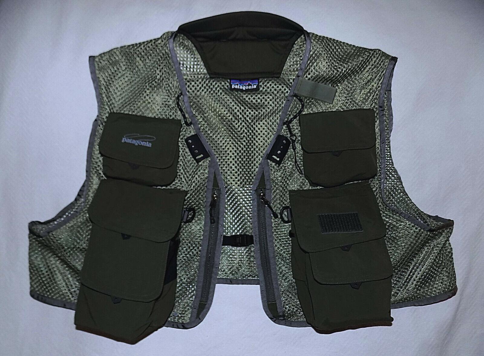 PAPAAGONIA Master Fly Fishing Net Nylon Vest-afmeting XGroot-Olive groen-Brand nieuwe Nee.