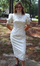Jessica McClintock Dress Off-White Brocade Victorian Style Wedding Bustle SZ 12