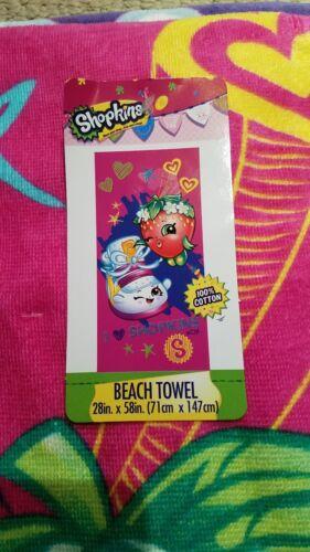 "I love Shopkins Strawberry Kiss  Cotton Beach Pool Bath Towel 28/""x58/""  New"