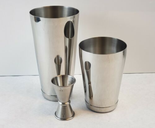 3 Piece BAR WEIGHTED COCKTAIL SHAKER Stainless Boston Mixing Tin /& Jigger Set