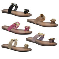 New Ladies Toe Ring Toe Post Beaded Summer Flip Flop Sandals Size 3 4 5 6 7 8