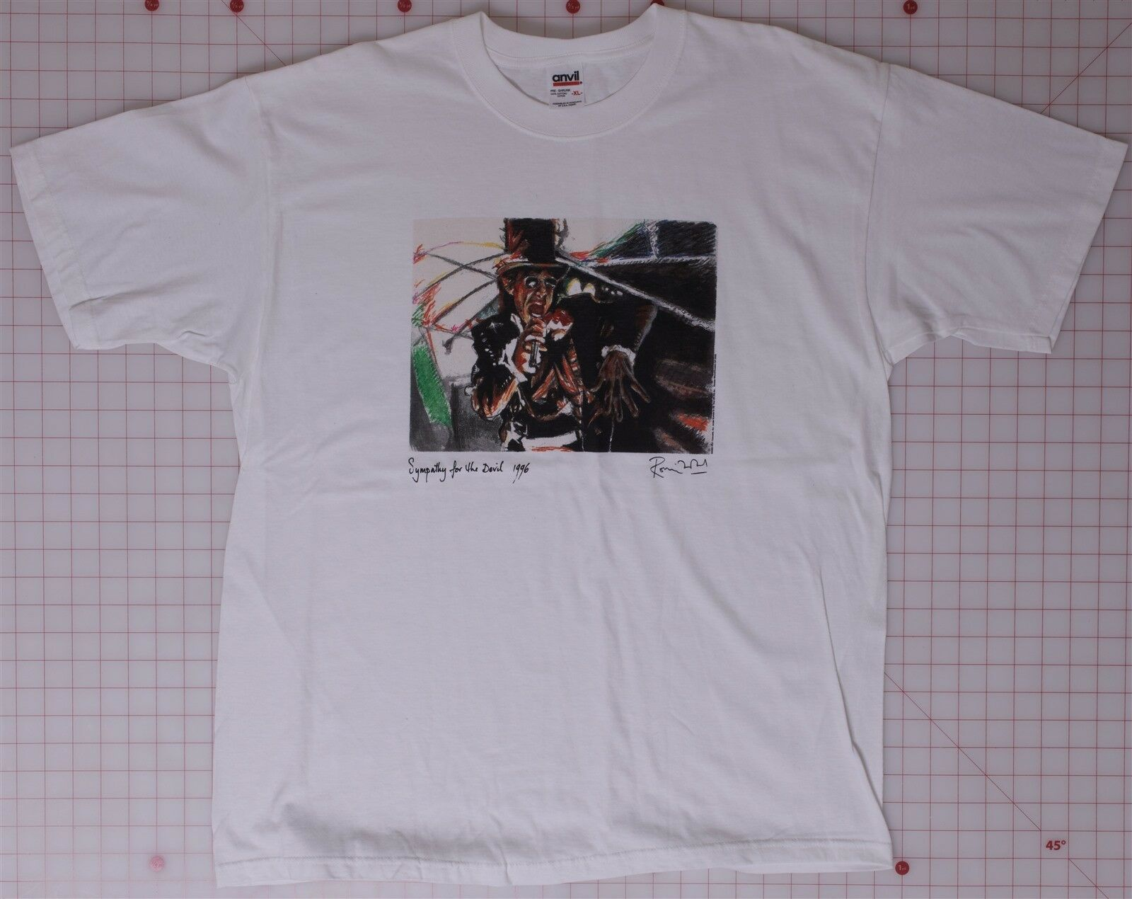 Rolling Stones Rare Symphony for the Devil Ron Wood Graphics XL Weiß T-hemd