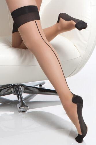 Retro Bas Pour Anstrapsen Cubain Talon Peau Couleur Chair Noir avec Couture Gr.