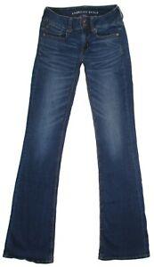 Womens-American-Eagle-Jeans-Artist-Flare-Super-Stretch-Dark-Denim-Size-2-X-Long
