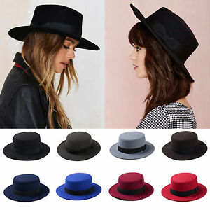 Women Boater Hat Bowler Sailor Wide Brim Flat Top Caps Unisex Wool ... b6dd834f9fe