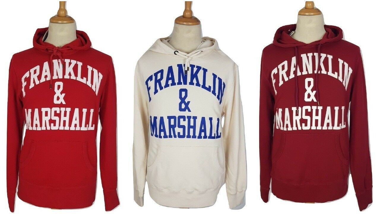 Franklin & Marshall  Herren ROT Cream Curved Arch Long Hooded Hoodie, M, L, XL, XXL