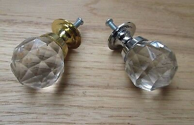 CABINET KNOB retro glass faceted crystal cupboard drawer door pull handle