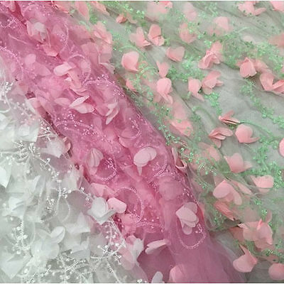 1 yard 3D Flower Lace Fabric Ivory Pink Green Purple Embroidery Wedding Bridal