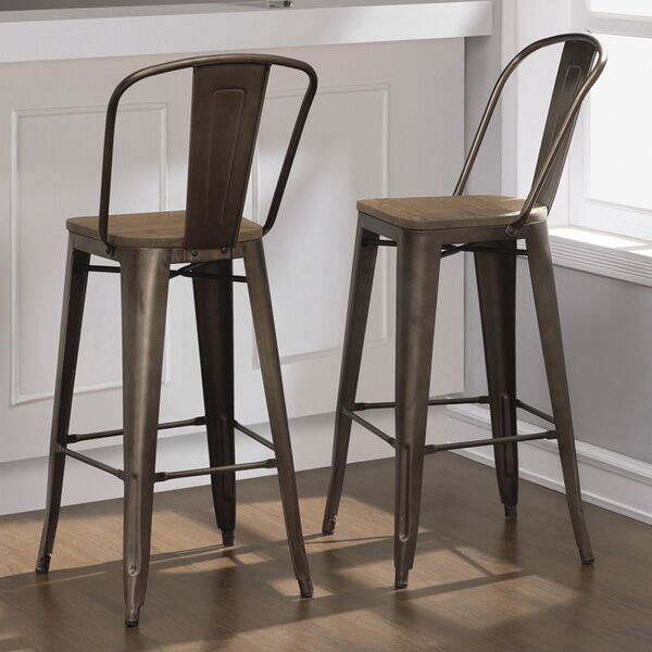 Beau Rustic Bar Stool Set Of 2 Industrial Vintage Bronze Wood Seat Kitchen Chairs  | EBay