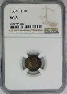 1834 NGC H10C Silver Capped Bust Half Dime VG8 Very Good US Coin