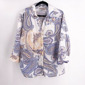 Chico-039-s-Womens-Size-3-or-XL-Blouse-Top-White-Paisley-Button-Down-Cotton-V-Neck