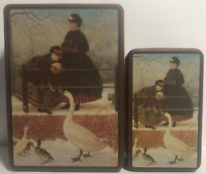 VINTAGE TINS MOTHER GOOSE FEEDING TIME - Medium & Large Tins  LOT OF 2