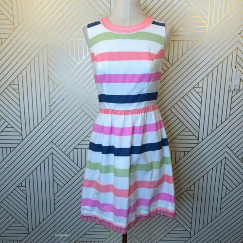 Vineyard Vines Striped Embroidered Cutout Dress Br